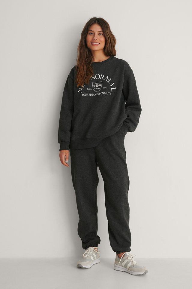 Embroidery Print Sweatshirt and sweatpants outfit