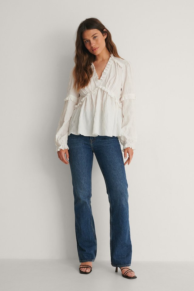 Structured Frill Blouse Outfit