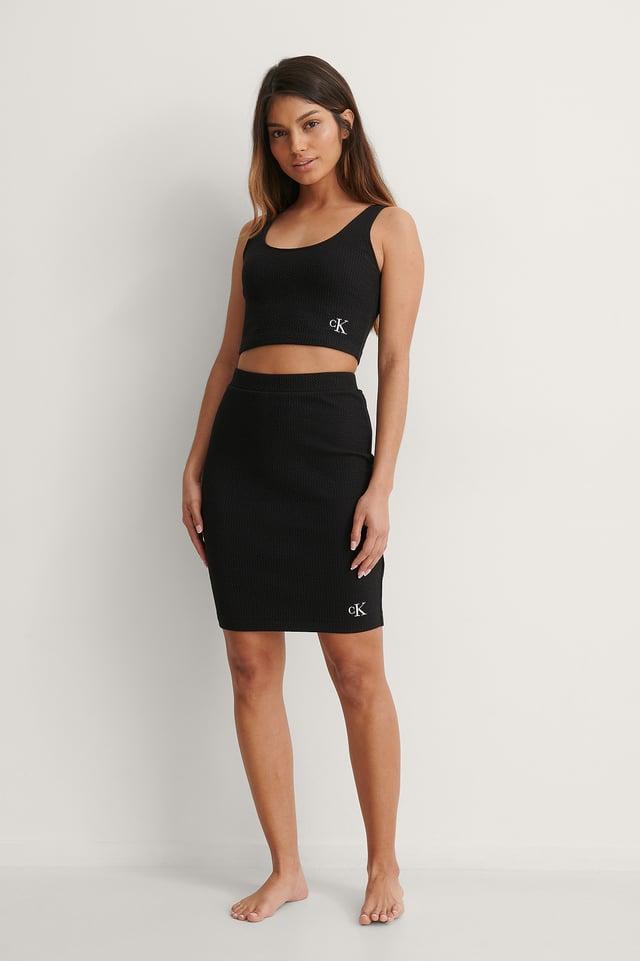 Calvin Klein Slub Rib Cropped Strappy Top Outfit