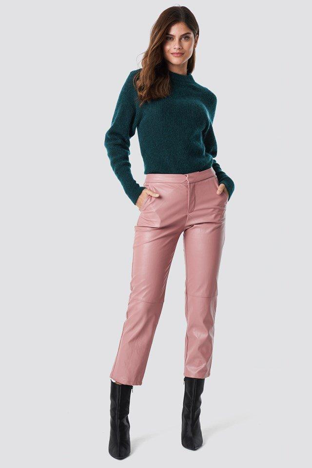 Dark Petrol Folded Oversize Short Knitted Sweater