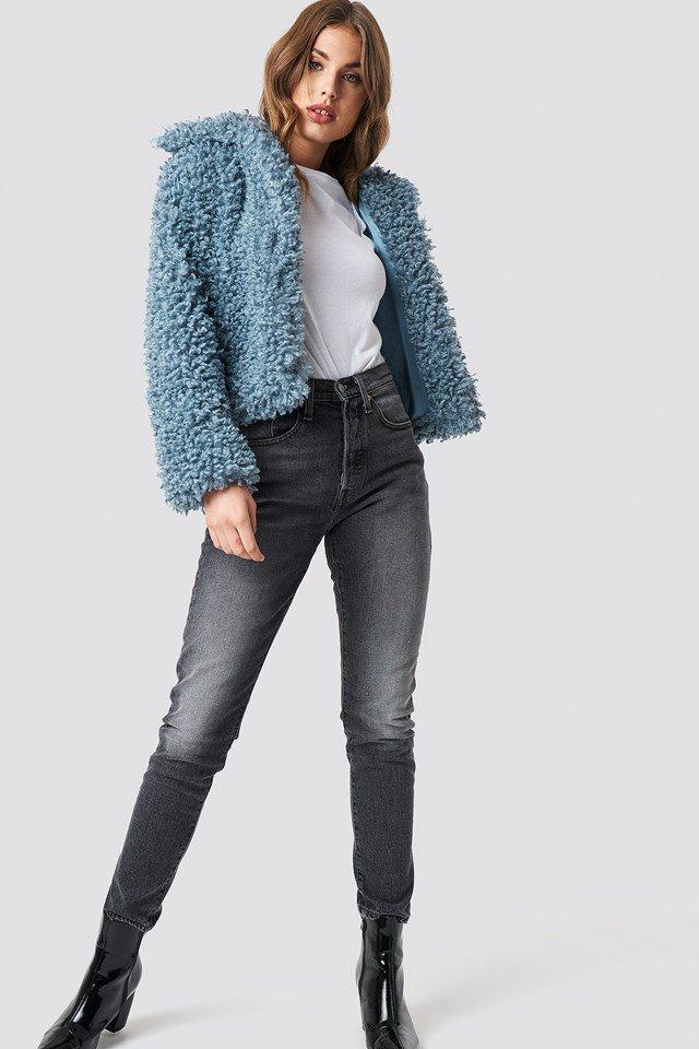 Blue Fur Coat Outfit