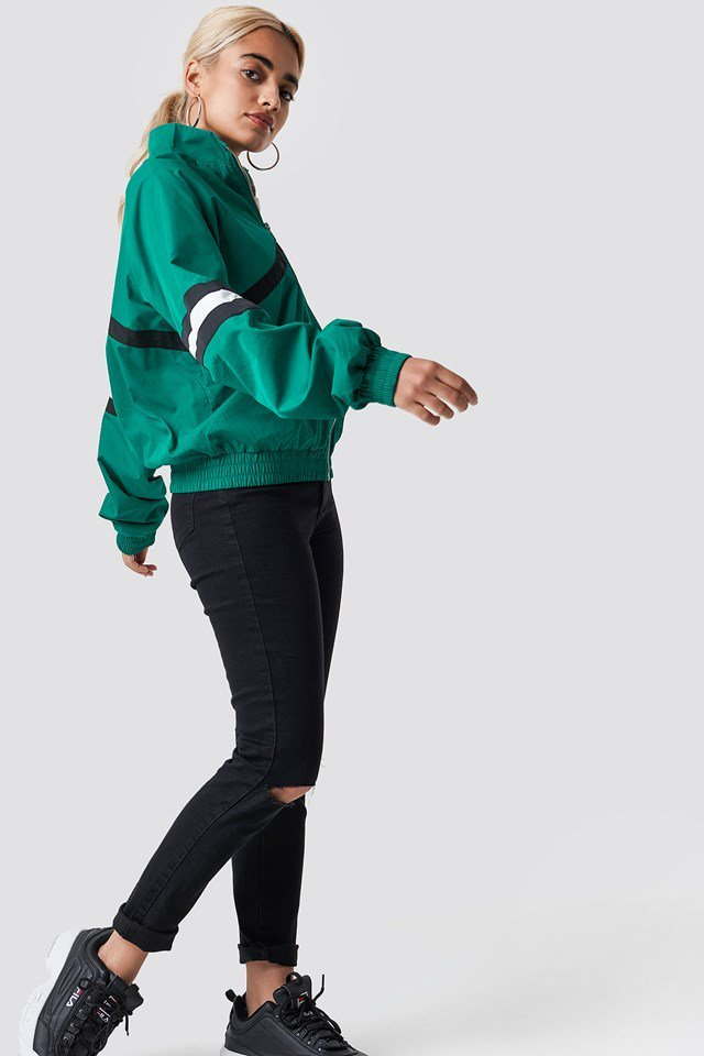 Green Track Suit Jacket X Black Jeans Outfit