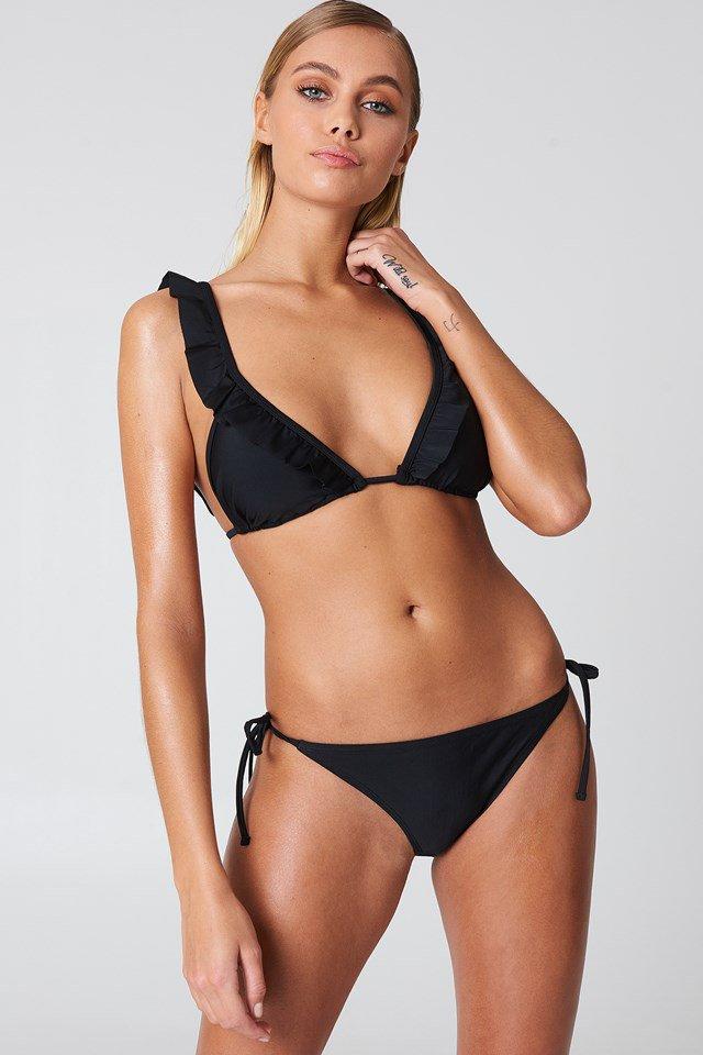 Black Haut De Bikini Triangle À Volants
