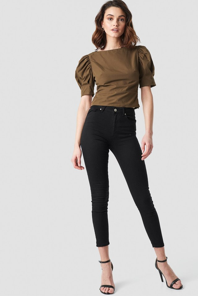 Black Skinny High Waist Open Hem Jeans
