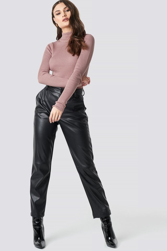 Polo Ribbed Knitted Sweater Pink Outfit