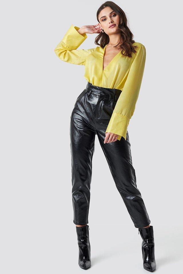 Wrap Satin Top Yellow Outfit