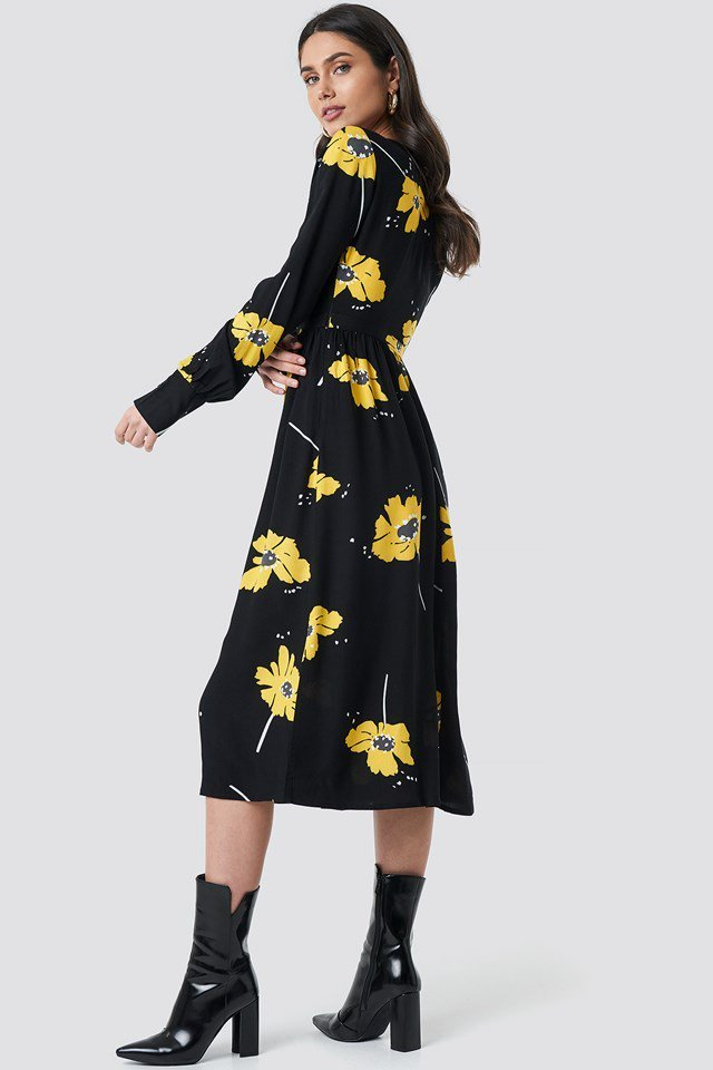 Wide Cuff Balloon Sleeve Dress Black Outfit