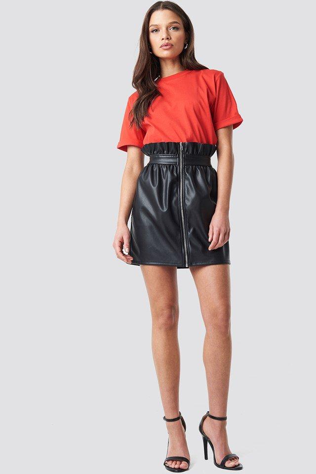 Black Contrast Seam A-line Pu Skirt