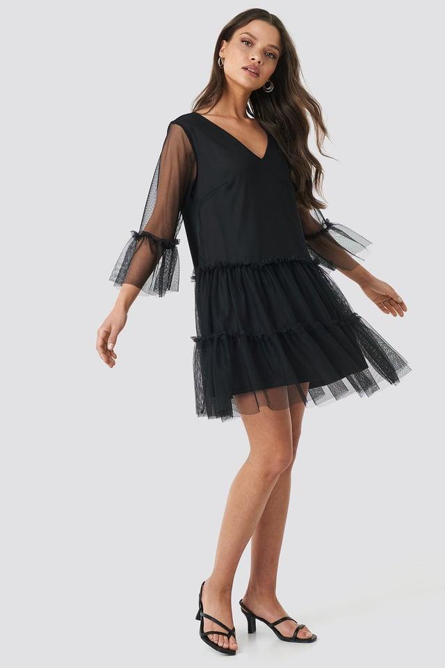 Black Ruffle Mesh Mini Dress