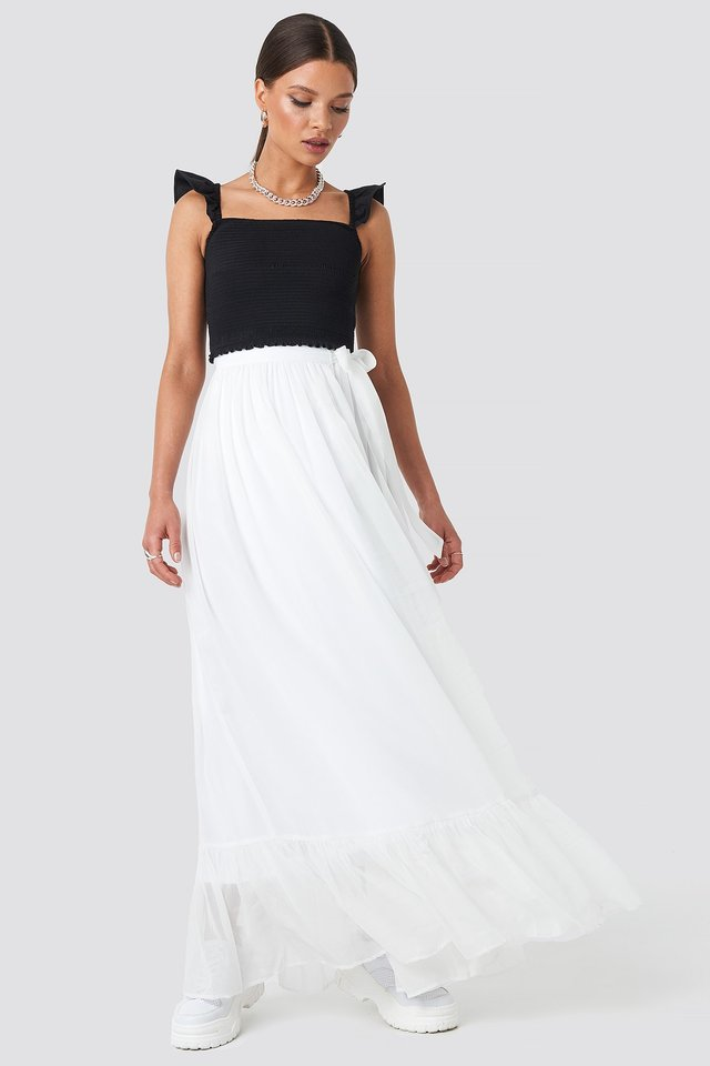 Tied Maxi Skirt White Outfit