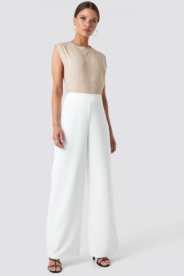 Wide Leg Pants White Outfit