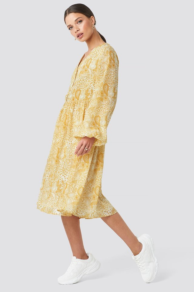 Printed Midi Dress Yellow Outfit