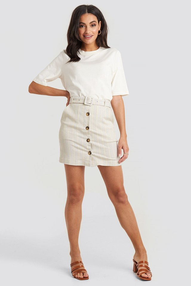 Belted Mini Skirt White Outfit