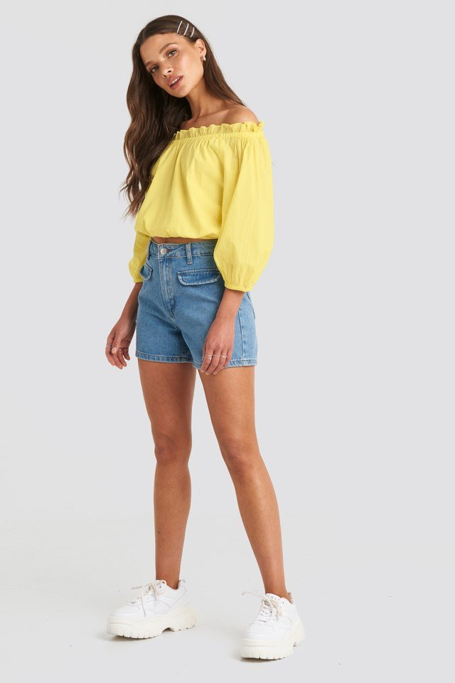 Off Shoulder Puffy Sleeve Cropped Top Yellow Outfit