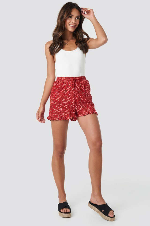 Red/White Dots Dotted Frill Hem Shorts