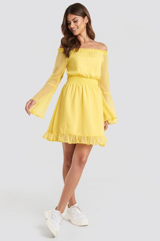 Off Shoulder Mini Dress Yellow