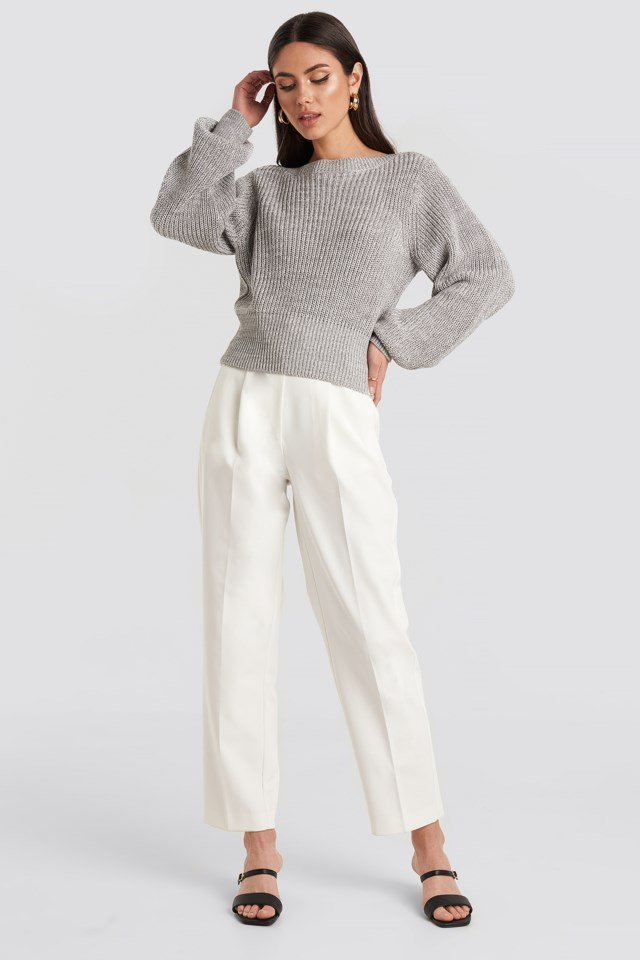 Beige Cropped Long Sleeve Knitted Sweater