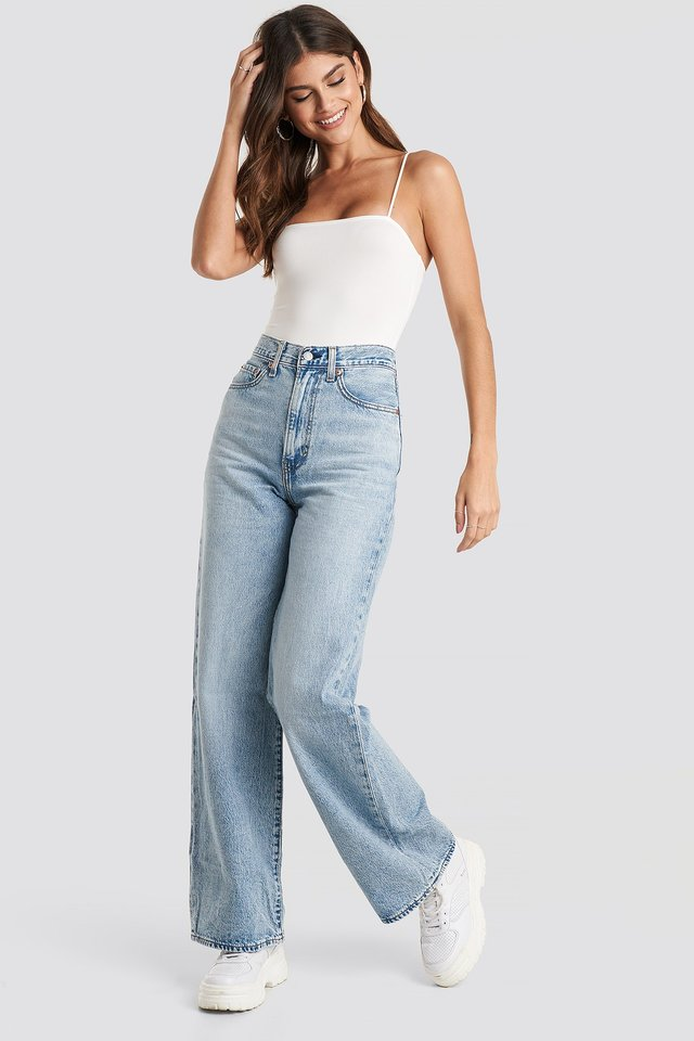 Ribcage Wide Leg Jeans Blue Outfit