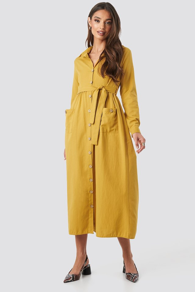 Belted Shirt Midi Dress Yellow Outfit.