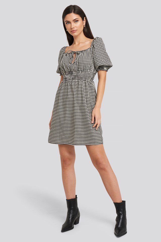 Black Plaid Pleated Mini Dress White Outfit