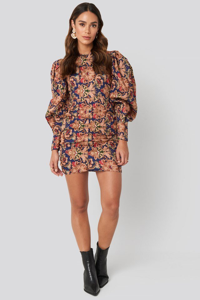 Puff Sleeve Printed Mini Dress Multicolor Outfit