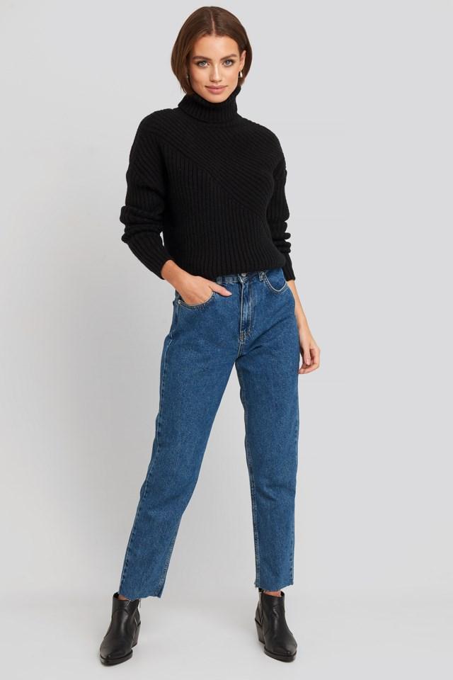 Roll Neck Asymmetric Rib Sweater Look