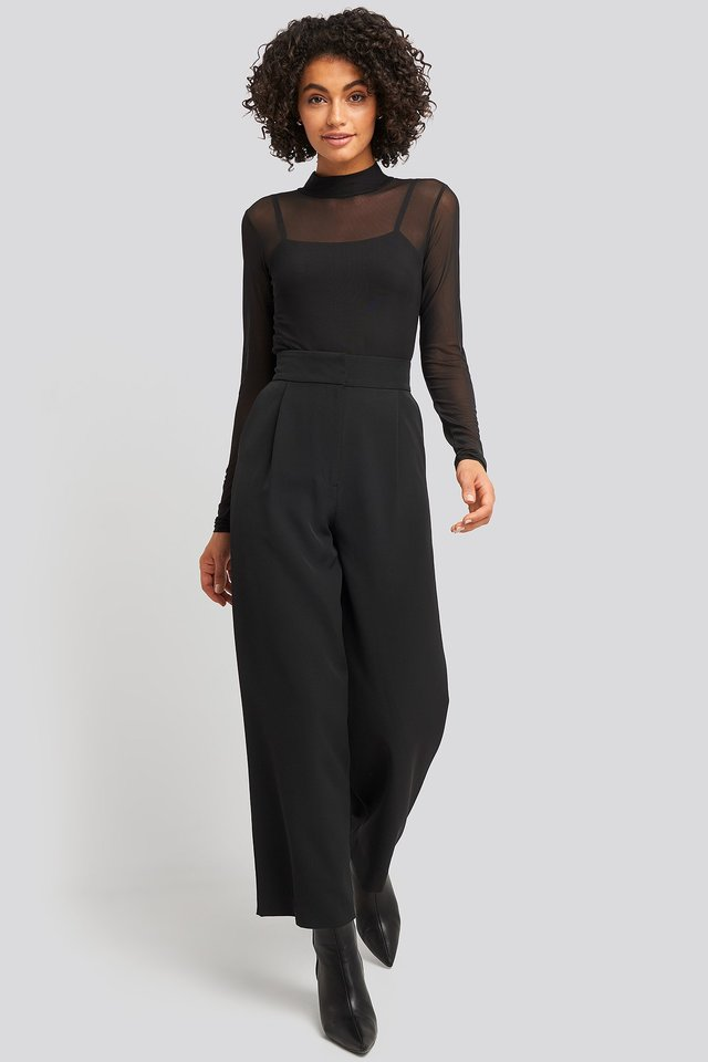 Lined Mesh Polo Body Black Outfit.