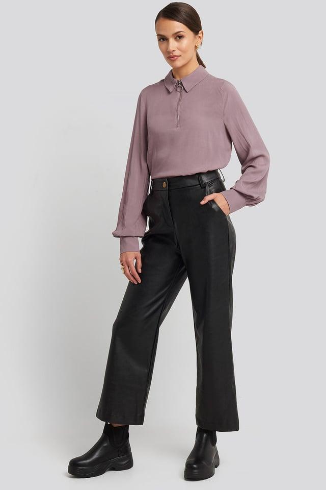 Zip Detail Blouse Purple Outfit