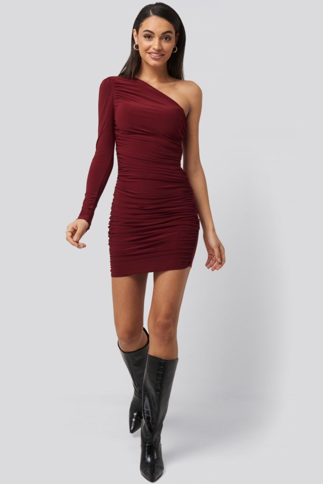Drape Detailed One Sleeve Mini Dress Red Outfit