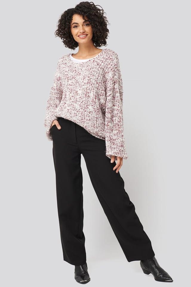 Deep Neck Melange Sweater Purple Outfit