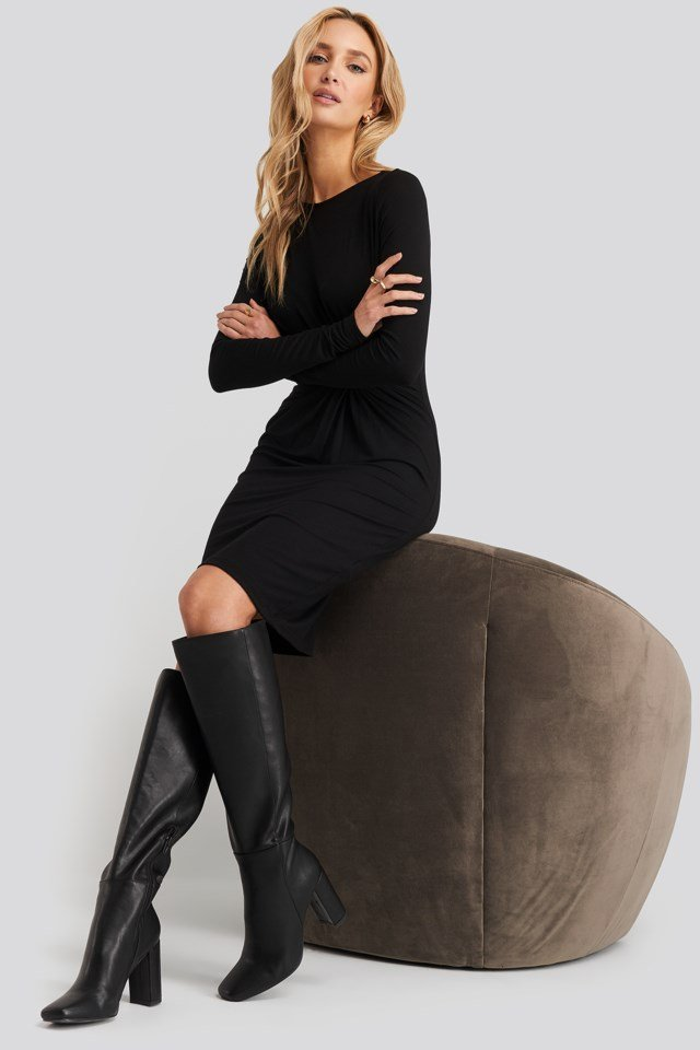 Knot Detail Dress Black Outfit