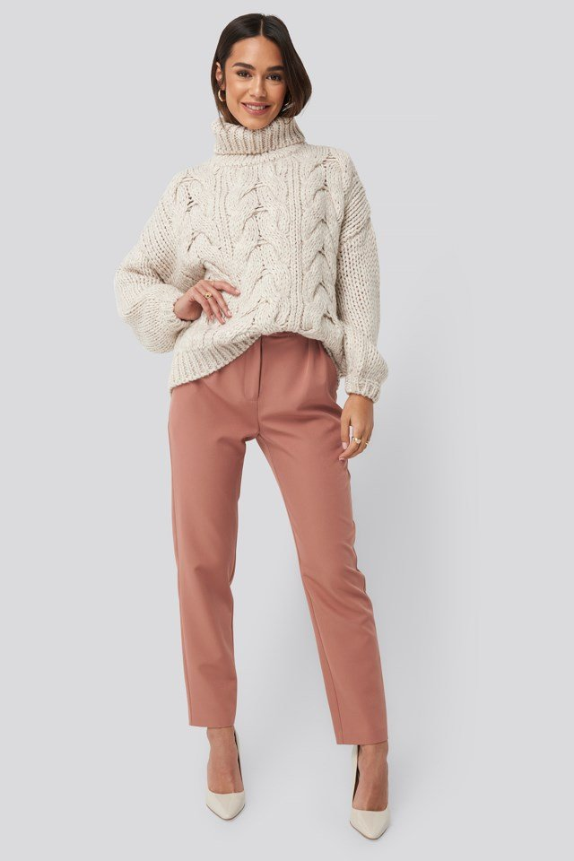 High Neck Heavy Cable Knitted Sweater Outfit