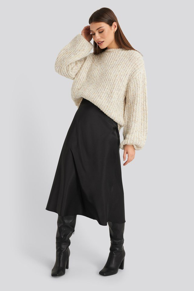 Balloon Sleeve Melange Sweater Outfit