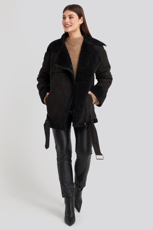 Belted Faux Fur Aviator Jacket Black Outfit