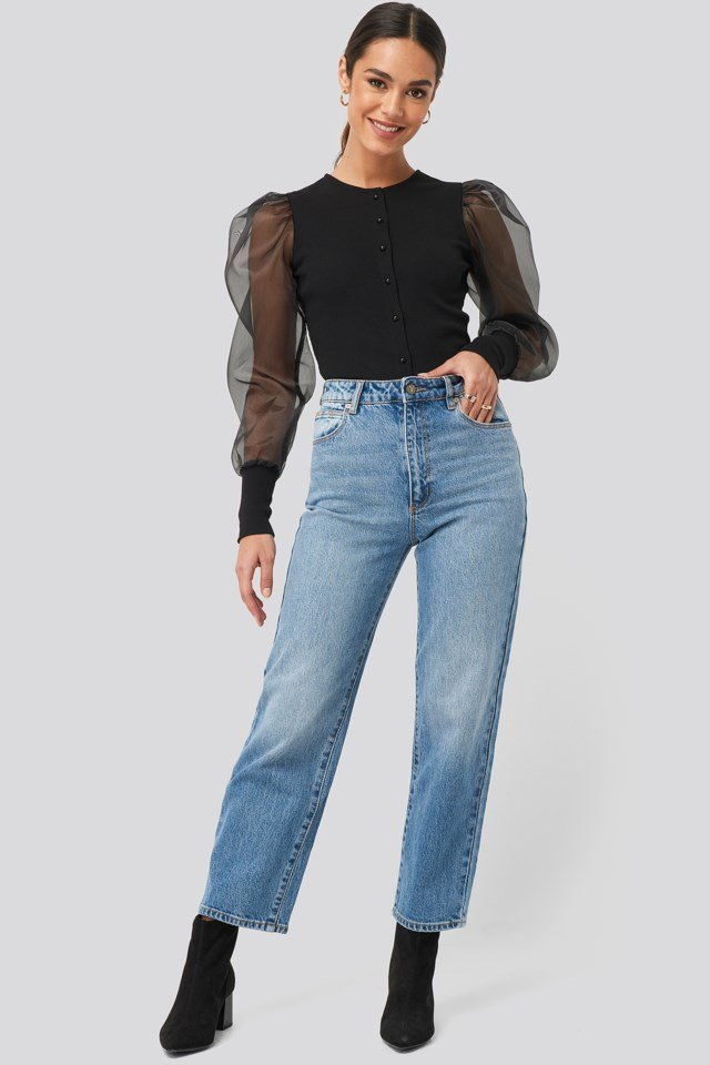 Dark Blue High Waist Raw Hem Straight Jeans