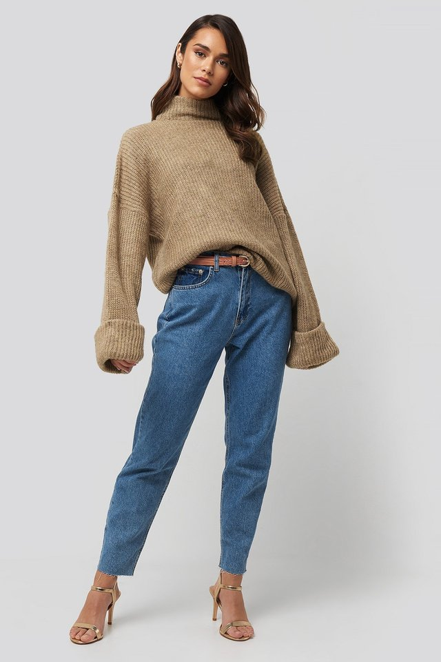 Folded Sleeve Turtle Neck Knitted Sweater Beige Outfit