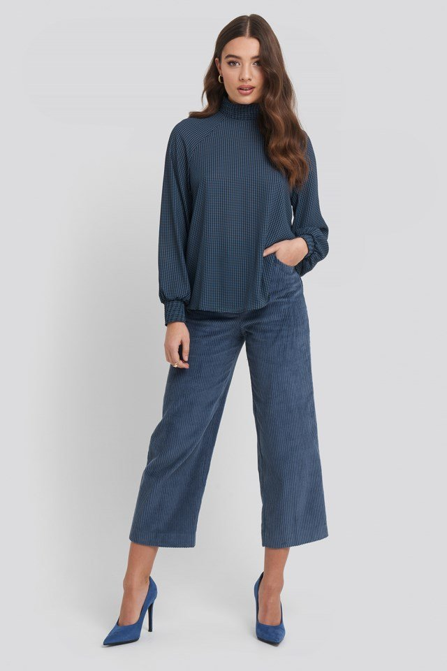 Smock Detail High Neck Blouse Outfit.