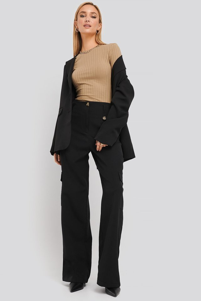 Pocket Detailed Trousers Black Outfit