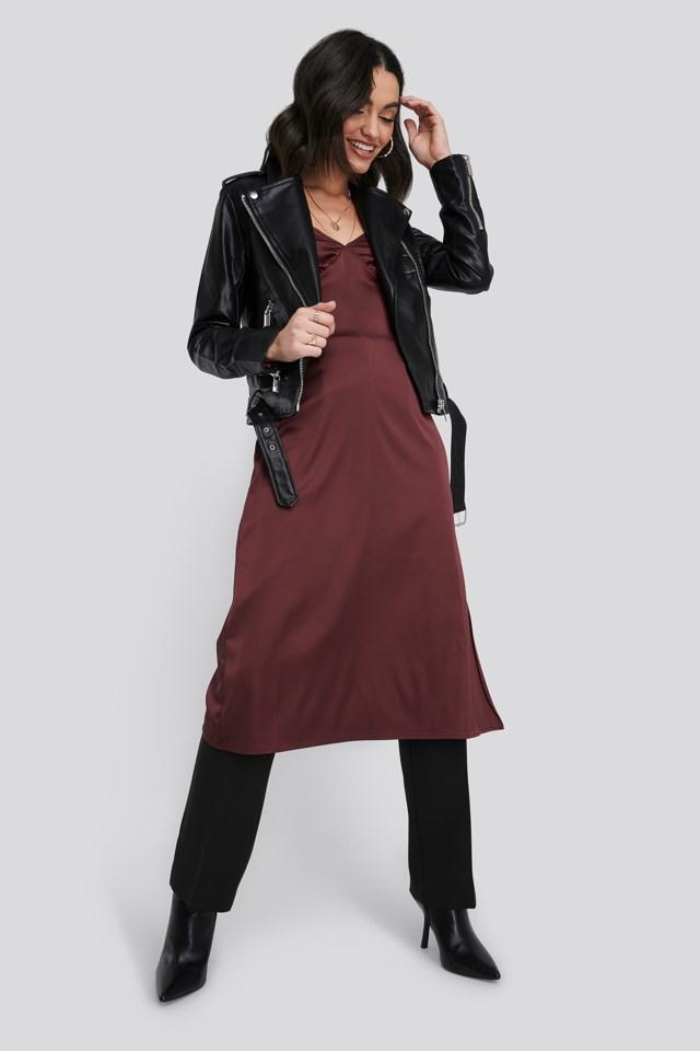 Burgundy Slip Satin Slit Dress
