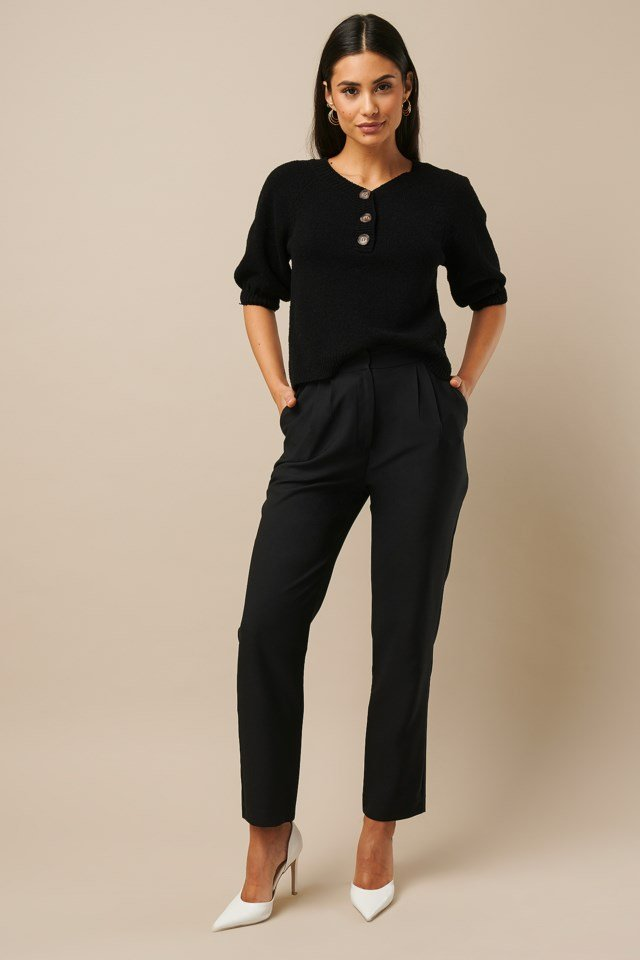 Vintage Look Knitted Top Black Outfit
