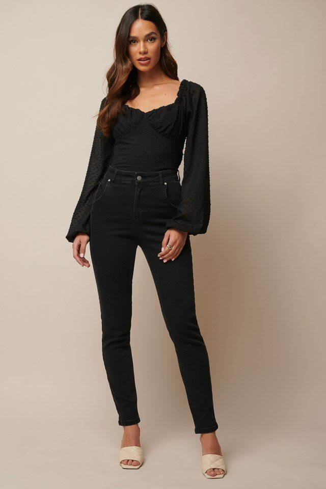 Black Cropped Cotton Dobby Top