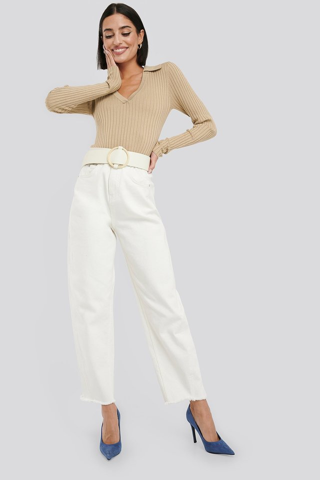 Pique Collar Ribbed Knitted Sweater Outfit