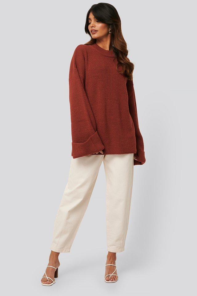 Rust Wide Sleeve Round Neck Knitted Sweater
