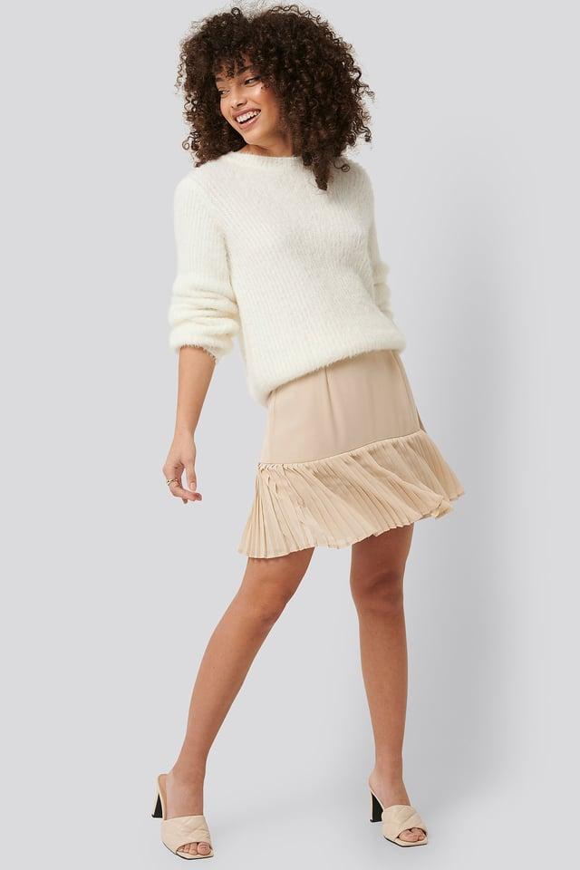 Beige Pleated Bottom Skirt