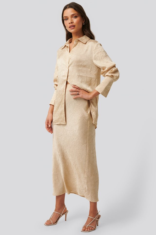 Satin Wrinkle Shirt Outfit