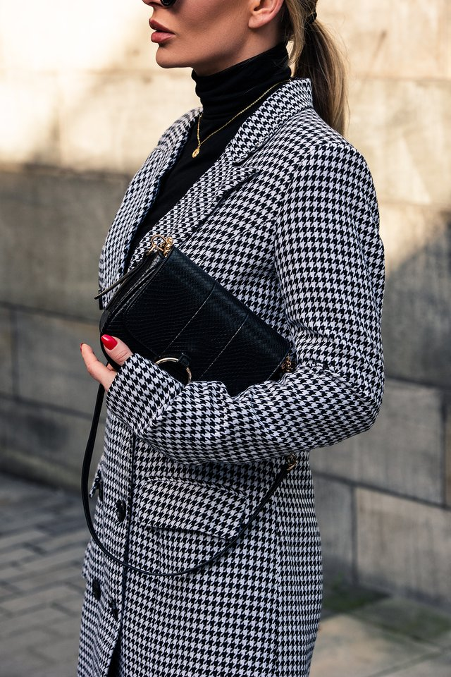 Black/White Check Big Check Blazer Dress