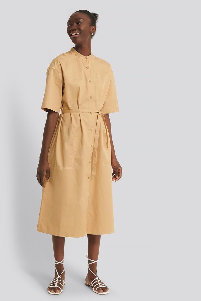 Contrast Toptstitch Shirt Dress Outfit