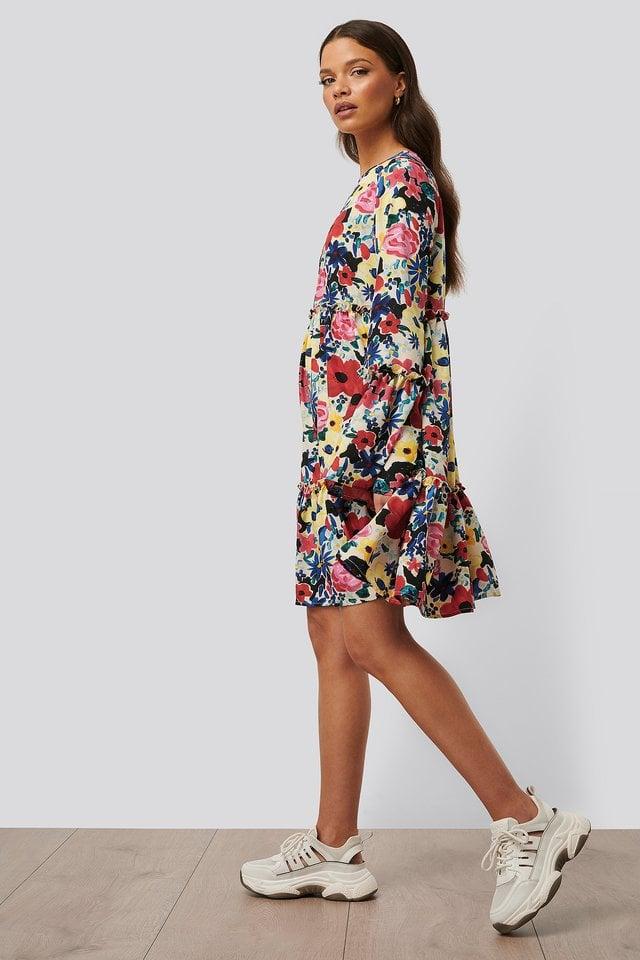 Flounced Chiffon Dress