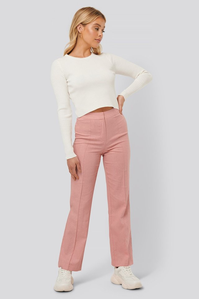 Ribbed Knitted Cropped Sweater
