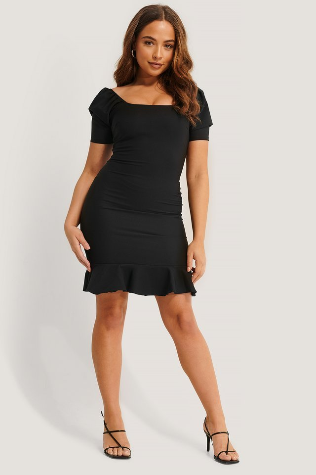 Black Smocked Puff Sleeve Dress